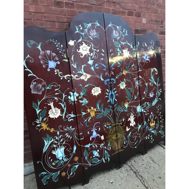 heavy wood screen, purchased in the early 70's from an antique store in the bay area... hand painted detail on both sides....