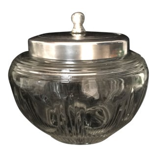 20th Century Traditional Jam Pot With Silver Plated Lid and Spoon Slot For Sale