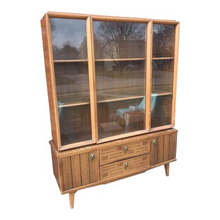 Mid-Century Two-Piece Carved Wooden Hutch