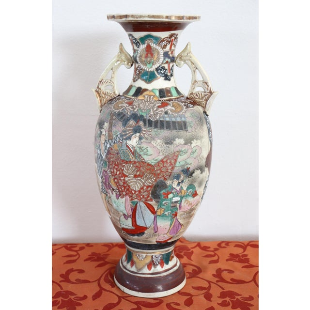 20th Century Japanese Vintage Artistic Satsuma Vase in Decorated Ceramic For Sale - Image 9 of 12