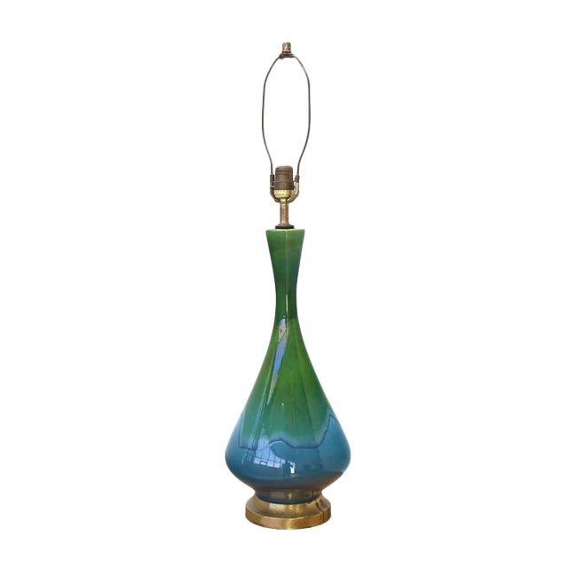 Green and Blue Vase Shape Art Glazed Pottery Table Lamps For Sale