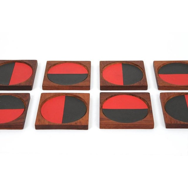 Teak Graphic Danish Teak Coaster Set by Laurids Lonborg For Sale - Image 7 of 11