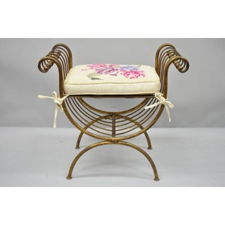 Vintage Italian Hollywood Regency Gold Gilt Iron Curule Vanity Bench Seat Preview