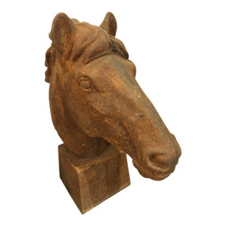 Cast Iron Equestrian Horse Head Statue