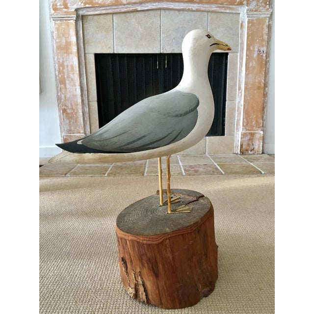 White Wooden Seagull Mounted on Pedestal For Sale - Image 8 of 8