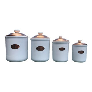 Vintage White Ceramic & Copper Kitchen Canisters With Lids - Set of 4 For Sale