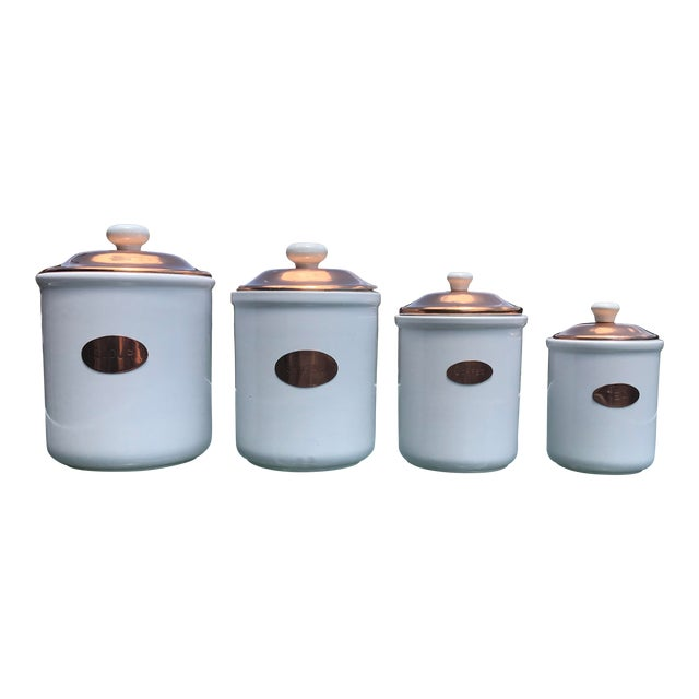 Vintage White Ceramic & Copper Kitchen Canisters With Lids - Set of 4