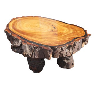 Large Vintage Redwood Live Edge Coffee Table For Sale