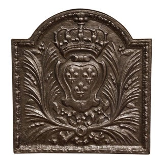 19th Century Iron Fireback With French Royal Coat of Arms and Fleurs-De-Lys For Sale