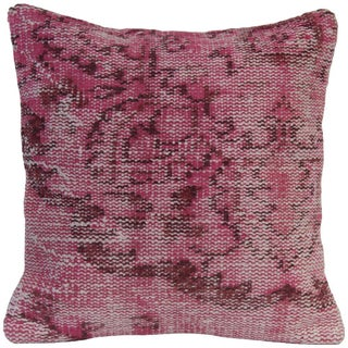 "18"" Pink Vintage Handmade Over-Dyed Oriental Rug Pillow For Sale"