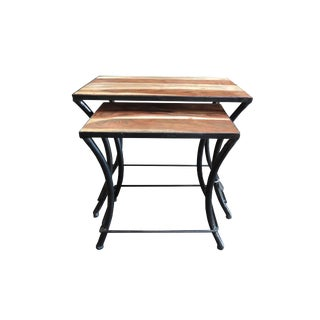 Modern Wood and Iron Nesting Tables- a Pair For Sale