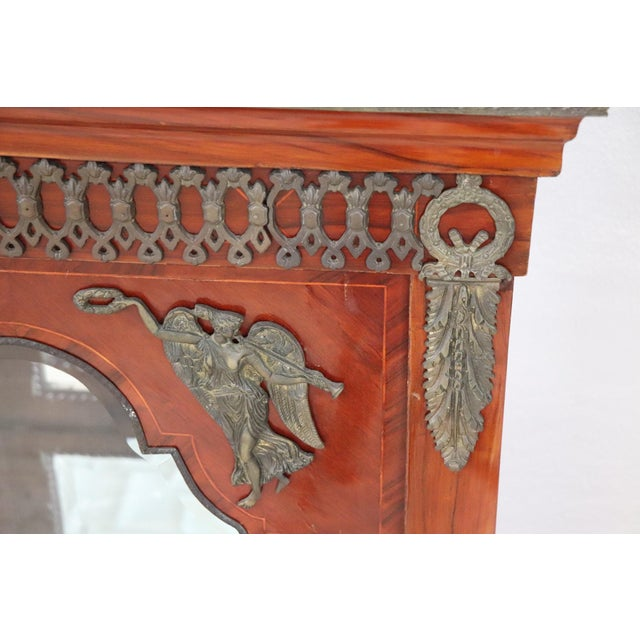 Mid 19th Century 19th Century French Napoleon III Walnut Cabinet or Vetrine With Green Marble Top For Sale - Image 5 of 12