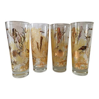 Mid-Century Sea Life Gilt Tom Collins Glasses - Set of 4 For Sale