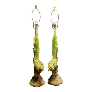 Vintage Green Parrot Bird Table Lamps - a Pair For Sale