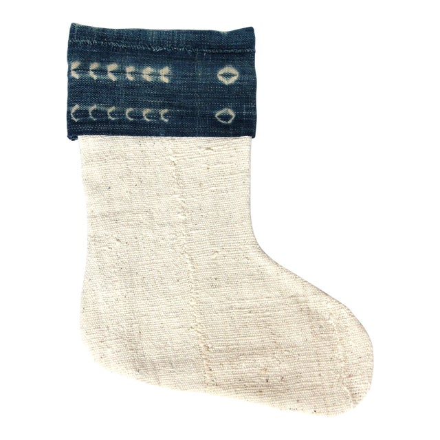 Vintage Indigo and Mudcloth Christmas Stocking - Image 1 of 4