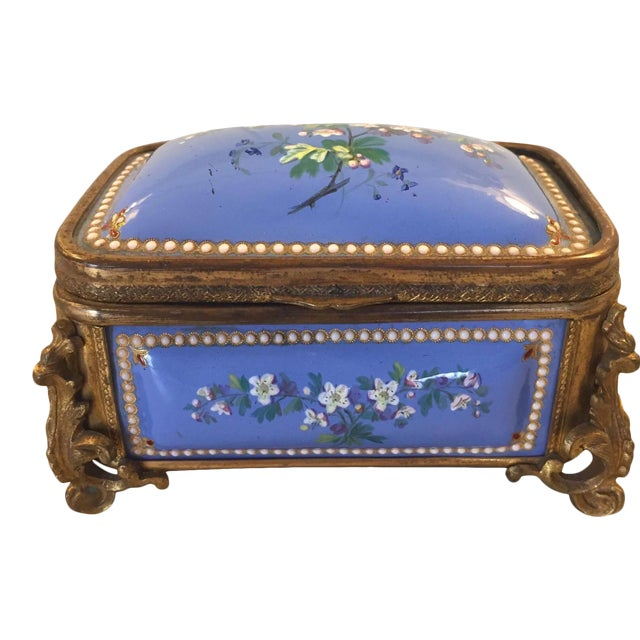 1885 Bronze Gilt and Hand Painted Enameled Cofferette For Sale