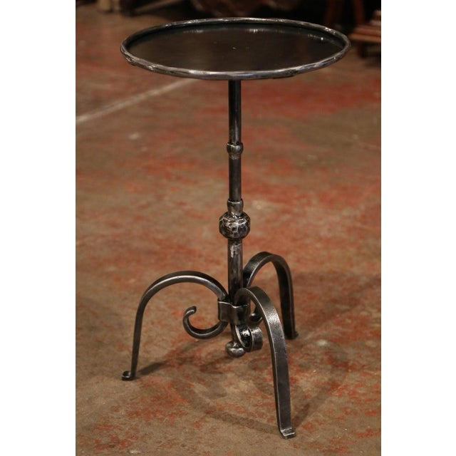 Gothic Early 20th Century French Polished Iron Martini Pedestal Table For Sale - Image 3 of 10