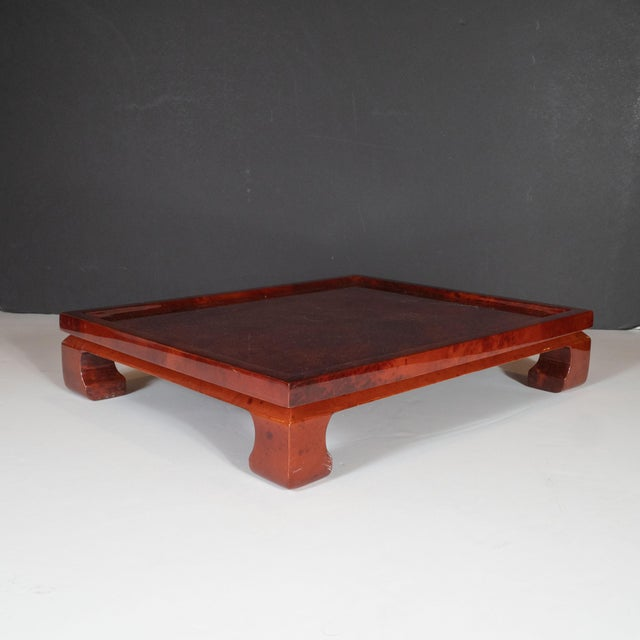 Enrique Garcel Enrique Garcel Mid-Century Modern Lacquered Goatskin Pagoda Style Bar Tray For Sale - Image 4 of 10