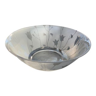 Vintage French Glass Bowl with Tulip Motif For Sale