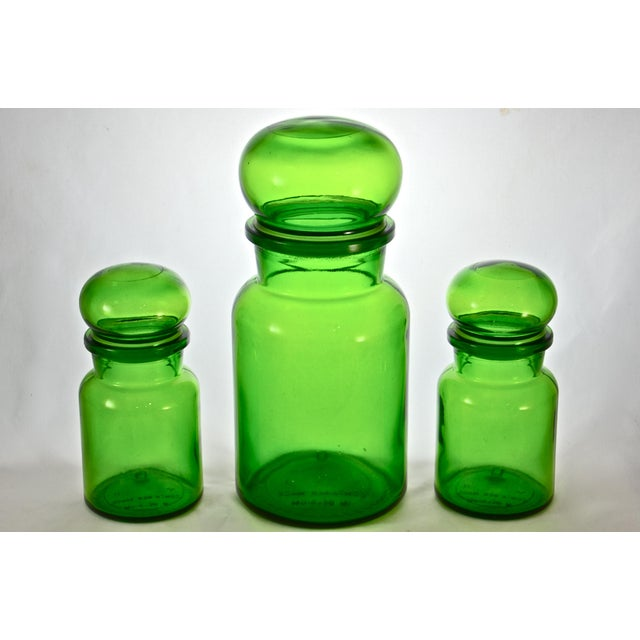 Green Belgium Ball Top Apothecary Jars - Set of 3 - Image 3 of 5
