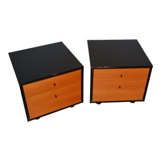 1980s Roche Bobois Maple Bedside Tables - a Pair