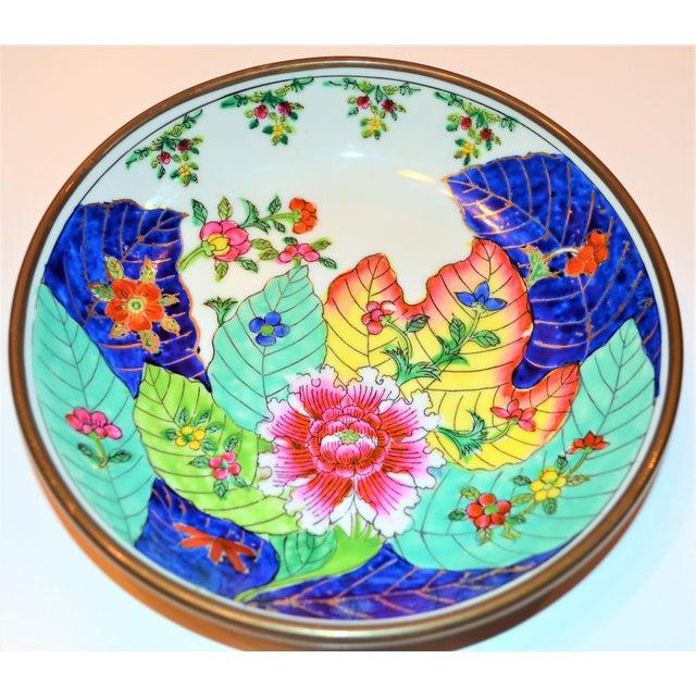 Brass 1980s Vintage Tobacco Leaf Porcelain and Brass Bowl For Sale - Image 7 of 13