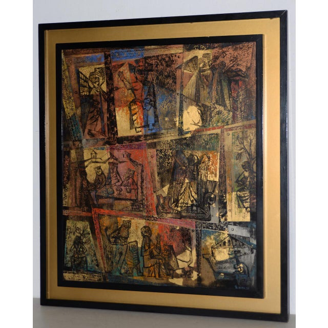 """Metal 1956 """"Memory of the Bronze Doors of San Zeno, Italy"""" Oil Painting by Gerda With For Sale - Image 7 of 13"""