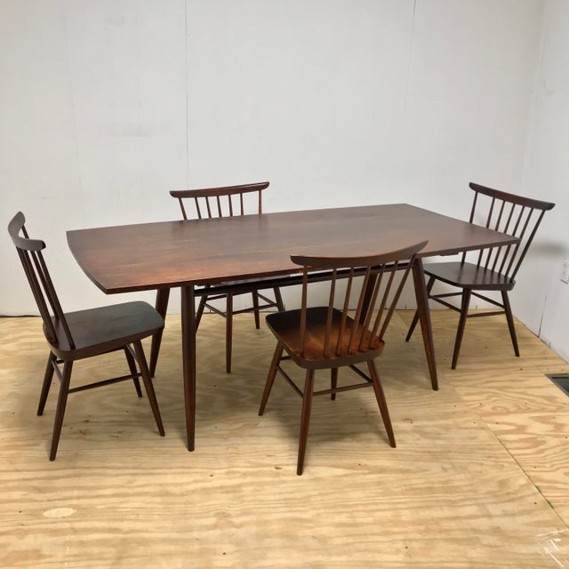 Mid-Century Modern American Studio Craft Solid Walnut Dining Set - 5 Pieces For Sale - Image 13 of 13