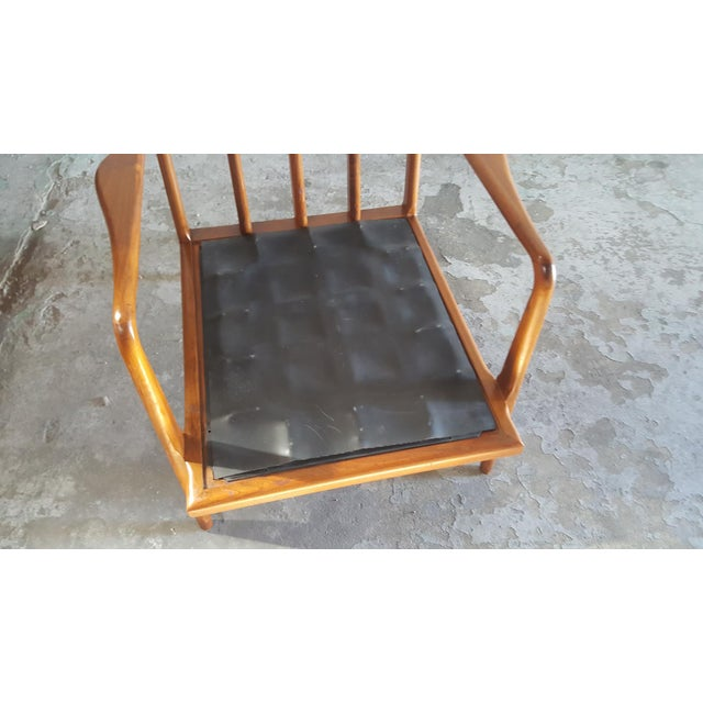 Solid Walnut Lounge Chair & Ottoman - Image 10 of 11