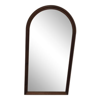 1900s Traditional Arched Brown Wooden Wall Mirror