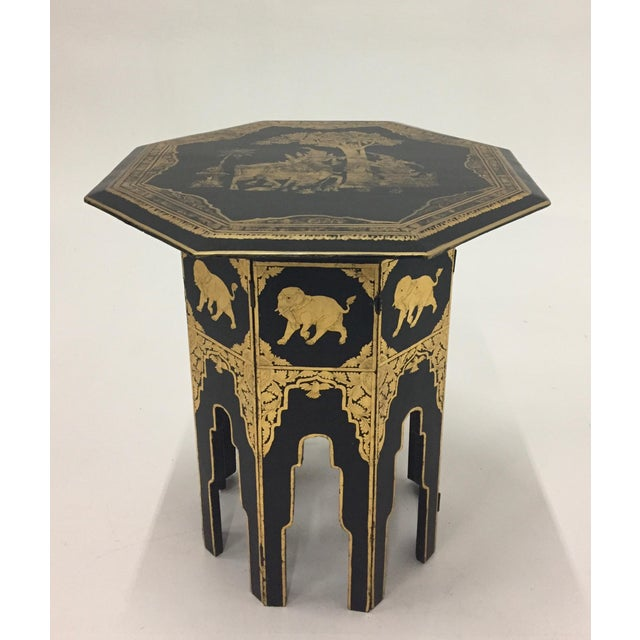 Anglo-Indian Burmese Black and Gold Octagonal End Table For Sale - Image 11 of 11
