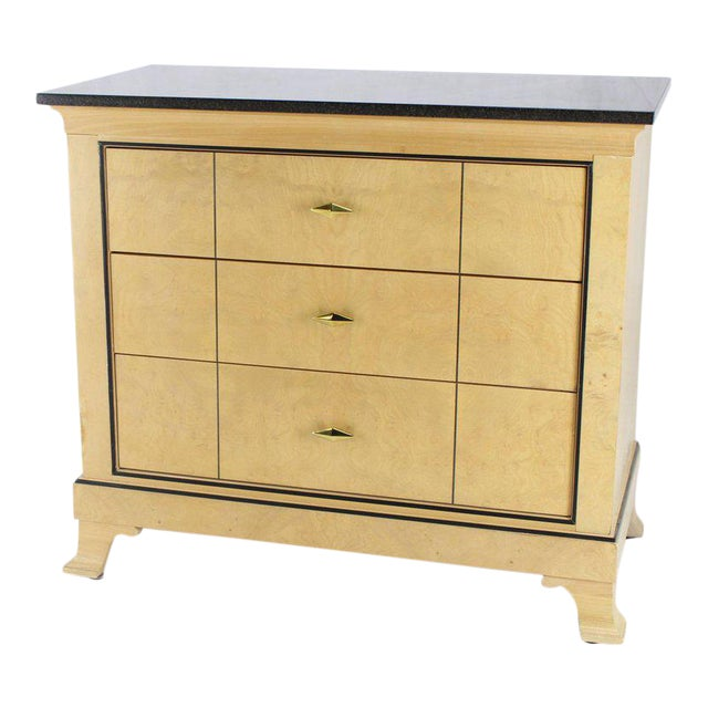 Three-Drawer Granite Top Bleached Burl Wood Bachelor Chest Dresser For Sale