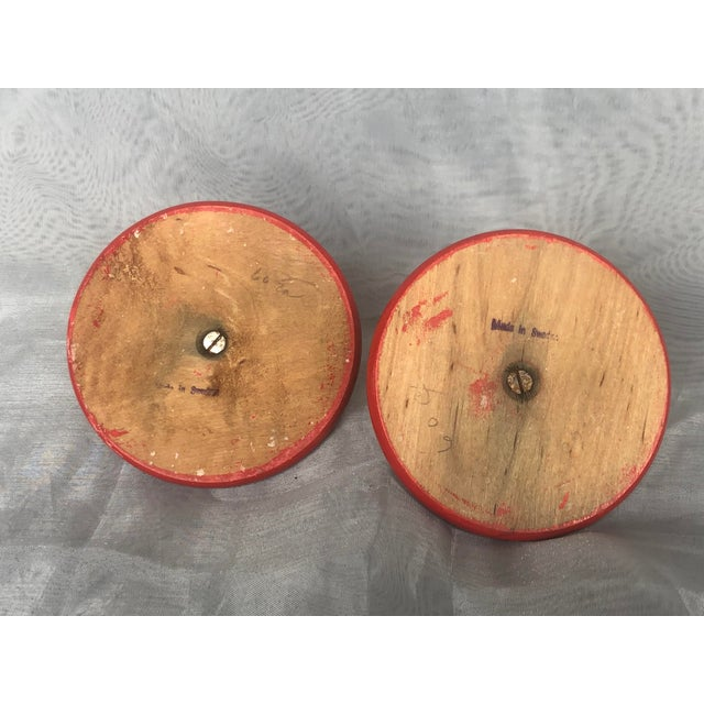Wood Vintage Wooden Swedish Folk Art Candle Holders- a Pair For Sale - Image 7 of 13