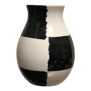 1970s Mid Century Black and White Italian Painted Bitossi Vase For Sale