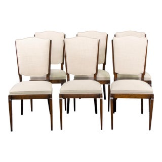 Mid-Century French Polished Beech Chairs With New Upholstery - Set of 6 For Sale