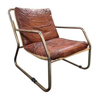 Mid-Century Brown Leather Chair For Sale