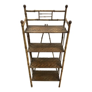 Antique 19th Century Bamboo Etagere Shelf For Sale