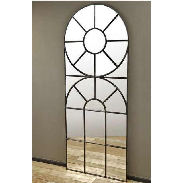 Extra-large black iron metal framed mirror with black caulk detailing. This incredible cathedral-style mirror will work...