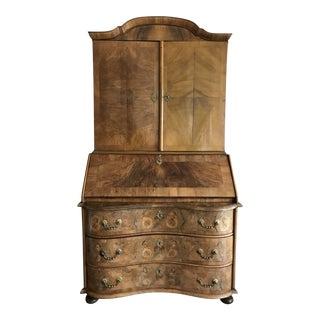1700s Italian Drop Front Walnut Secretary Desk For Sale