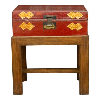 Chinese Antique Lacquer Document Box on Wooden Stand For Sale
