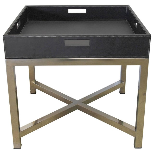 Metal Black Leather and Stainless Steel Tray Table by Fabio Ltd For Sale - Image 7 of 7