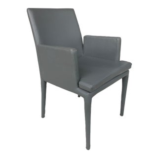 Gray Faux Leather Desk Chair For Sale