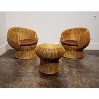 1970's Modernist Wicker Patio Set With Two Lounge Chairs and One Side Table Preview