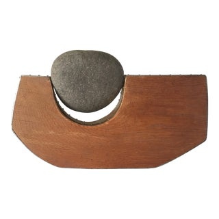 Vintage Abstract Mid-Century Modern Stone Rock Wood Metal Sculpture For Sale