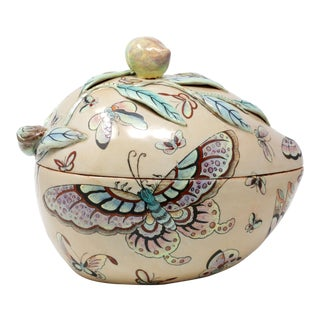 Vintage Hand-Painted Peach-Shaped Lidded Bowl With Butterflies For Sale