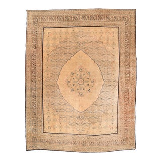 Antique Ivory Hand Knotted Persian Tabriz Area Rug For Sale