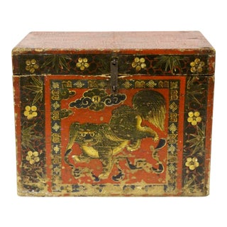 Asian-Style Lacquered Foo Dog Trunk For Sale