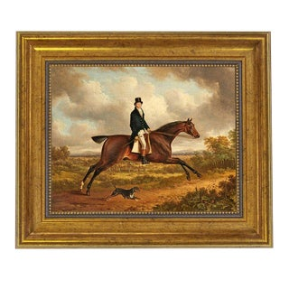 Traditional Horse Rider Framed Oil Painting Print on Canvas in Antiqued Gold Frame For Sale