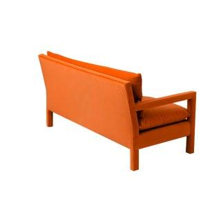 1970s Milo Baughman Style Orange Velvet Parsons Sofa For Sale