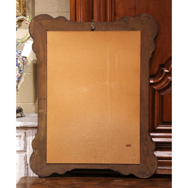 Metal Midcentury Italian Carved Hand Painted Wall Mirror With Floral Decor For Sale - Image 7 of 8